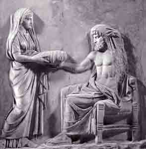 Rhea giving one of her son to Kronos to swallow